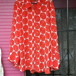 Large polka dot  sheer blouse